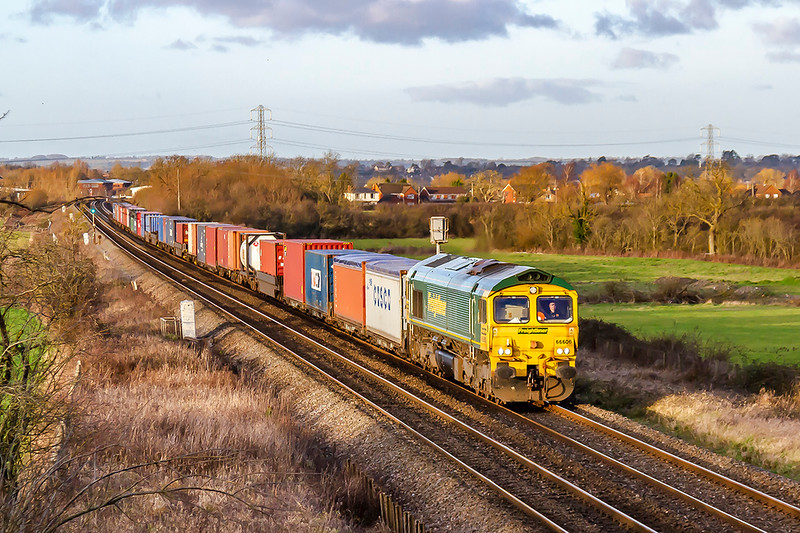 3rd Jan 2020:  At 3.15 pm just starting the climb to Westbury as it runs through Heywood is 66606 working 4O57 from Wentloog to Southampton Maritime