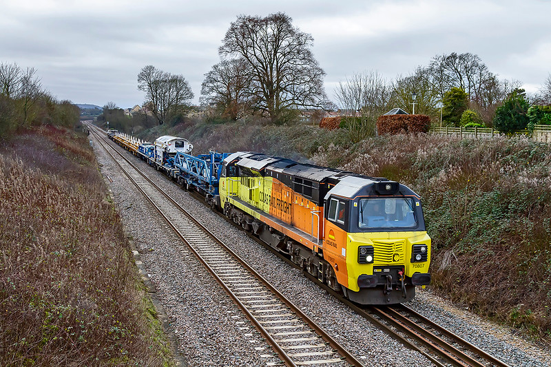 5th Jan 2020:  With a small but unusual load 70807 is on the Frome Avoider as it works 6C24 from Exeter St Thomas to Westbury.  Pictured from the foot  Bridge ast the end of Styles Avenue