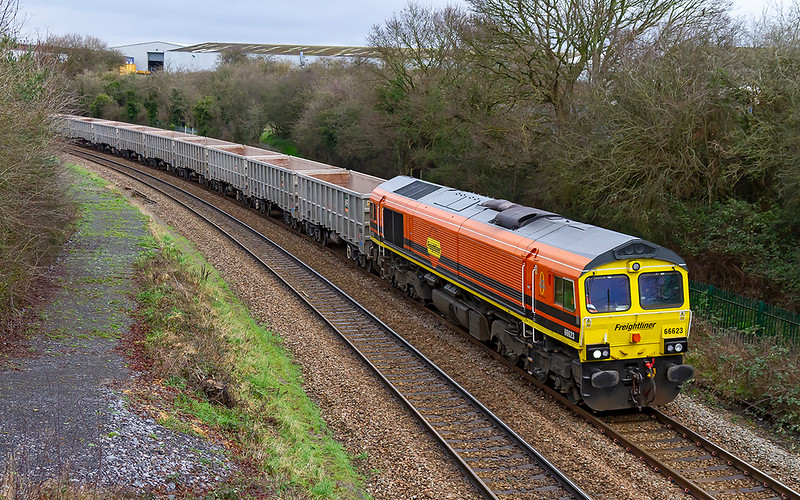 30th Jan 2020:  My first picture of 66623 in it's new Genesee & Wyoming livery as it climbs from Bradford junction towards Trowbridge.  6C68 is running from Avonmouth Bennets Siding to Whatley Quarry..  Not my intended location but as it was running 30 minutes early it was the besst that I could manage.