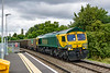 2nd Jul 2020:  I only bothered tp process this picture because it was of a Power Haul painted Freightliner and because I managed to completely  mess up my shot of the 67s on a tester that followed that was the main target.  66420 is heading 7V62 to Whatley Quarry from Southampton Up Yard at Dilton Marsh