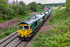 9th Jul 2020:  With  what looks like tears running down it's face 66605 is about to take the East Chord at Hawkeridge Junction with 24 loaded Freightliner hoppers as it works 6A27 to Hayes & Harlington from East Usk Yard.