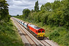 3rd July 2020:  Although I used to watch trains here in the 1950s this is my first ever picture from this bridge on Trowbridge Road in Bratton.  59205 is heading 7A17 from Merehead to Colnboook Foster Yeoman.