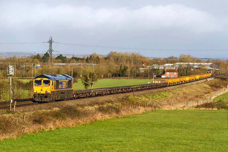 1st Mar 2020:  I shot that I have planned for some time from Church Road in Heywood.  About to pass Signal W94 are 66762 TnT 66704 working 6G01 from Swindon to Westbury Dowbn Yard.  Pitty that the JNAs were not leading.