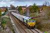 3rd Mar 2020:  With the sun now hiding 66610,  rather suffering from rust on the front is seen from the Dursley Road Bridge in Trowbridge.  6C68 is returning the empty boxes to Whatley Quarry from Avonmouth.