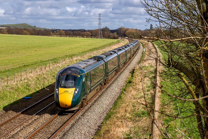 2nd Mar 2020:  Between Bedwyn and Westbury all the passenger services are IETs these days.  Approaching the site of Patney & Chirton station are 802010 & 802011 working 1C80 the 12.04 from Paddington to Penzance.