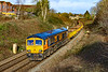 8th Mar 2020:  Climbing away from Trowbridge and pictured from Mud Lane 66704 is in charge of 6G02 from Holesmouth Junction in Avonmouth to Westbury Down Yard