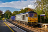 9th Oct 2020:   Entering Warminster Station DC Rail 60029 'Ben Nevis' is heading to Southampton Up Yard with 6Z91 the 16.28 fron Westbury. with a load of spent ballast ..