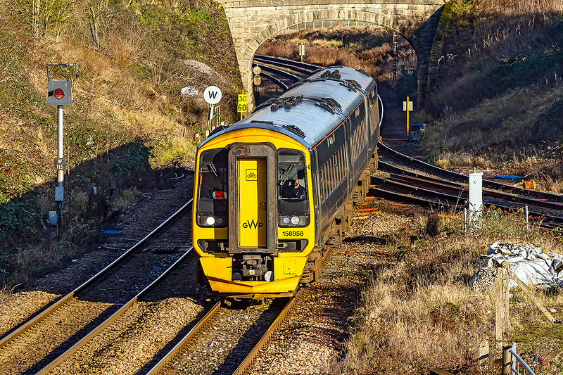 2nd Jan 2021:  My first railway picture of the year is of 158958 crossing the junction at Hawkeridge.  It is forming 1F11 the 09.28 from Cardiff central. to Fareham.