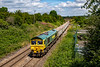 14th Jul 2921:  Crossing Hawkeridge Junctin is 66604 with the empties that form 6C68 from Avonmouth to Whatley Quarry.