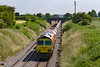 2nd July 2021:  Due to severe vegetation growth pictures taken  from the right of this bridge in Edington means that morning shots from there are not possible.   59206 is heading 6C31 from Theale to Whatley