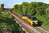 14th Jul 2021:  With a decent rake of Coalfish loaded with very spent track ballast  70805 is taking 6M50 to Bescot from tWestbury..  I think that this load has originated from Bristol where there is a massive track relaying programe in progress.