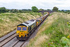 12th Jul 2021:  At Edington on the Berks  & Hants line 66561 is leading on 6X08 that is working to Fairwater Yard in Taunton having started from Heyford in Oxfordshire..  Out of sight 66551 is bringing up the rear.