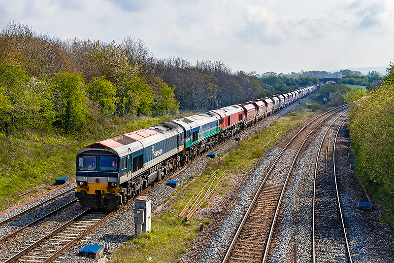 1st May 2021?  On the first of the month it  was great to see all the Class 59 leaders on the same train.  7C29  from Acton to Merehead  is pictured at Fairwood Junction with 59101 providing the urge and with 59001 & 59201 in the consist. I wonder how many time this has occured over the years.  Shame about the floater but at least it was only over the back of the train..