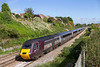 6th Oct 2021:  It is always great to see a proper HST working.  Nearing Parson Street is Cross County 43208 leading on 1V50 the 06.06 from Edinburgh to Plymouth..