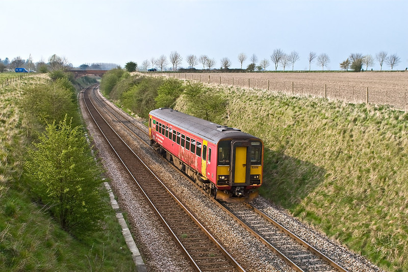 12th Apr 07:  Sprinter 150368 climbs the last few yard of the bank to Upton Scudamore
