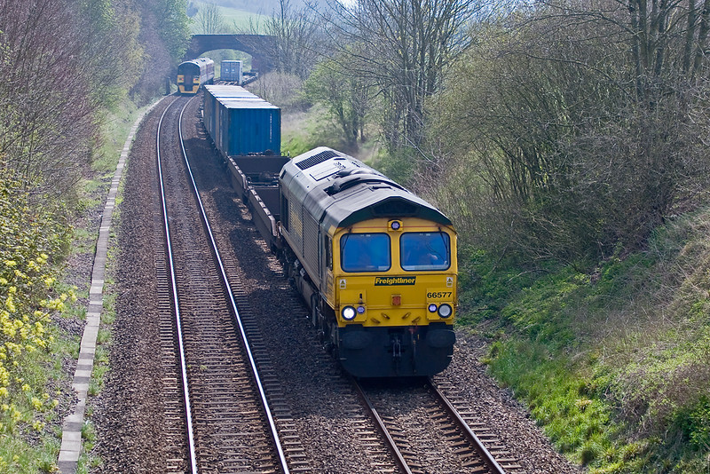 12th Apr 07:  66577 with 4O58 North bound at Norton Bavant