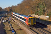 3rd Dec:  In beautiful sunlight 159006 on the Up Fast at Farnborough