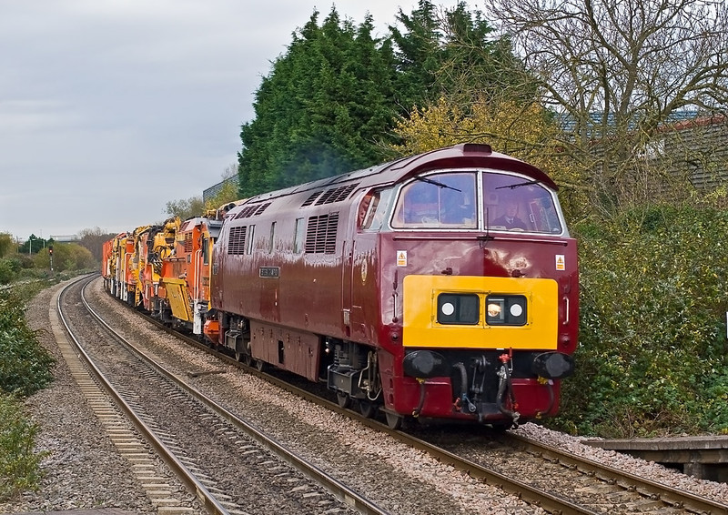 7th Nov 07:  Having collected it's load D1015 'Western Champion' is busy making up time as it enters Theale station.  The consist being a Seco-Rail Ballast Cleaner.