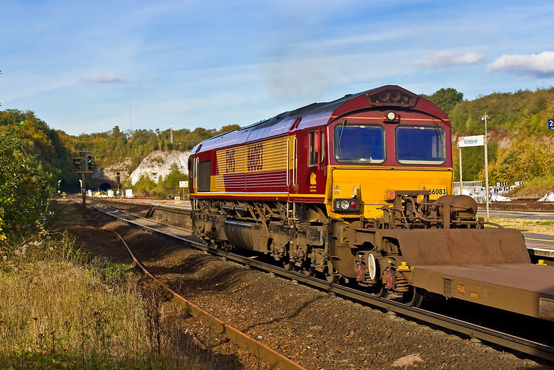 18th Oct 07:  Catching soft Autumn light is 66083 on 4M36 Southampton to Birch Coppice