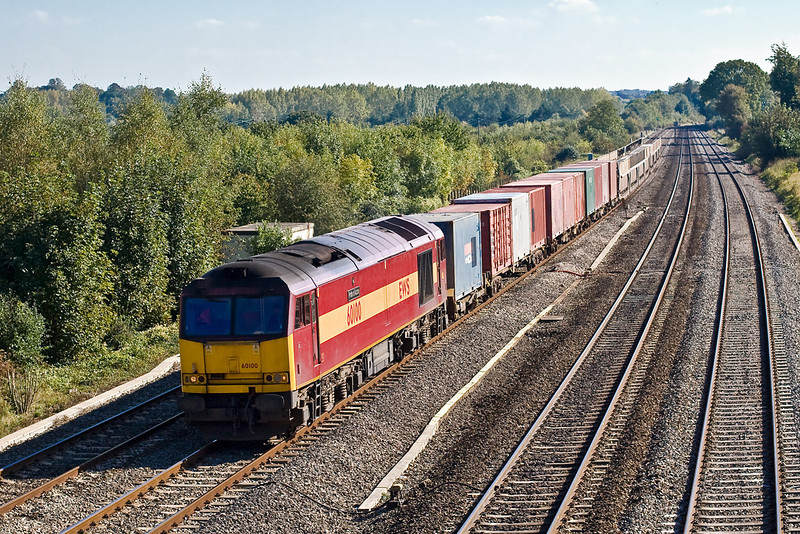 5th Oct 07:  The  11.39 Marchwood to Didcot MOD stores train in the hands of 60100