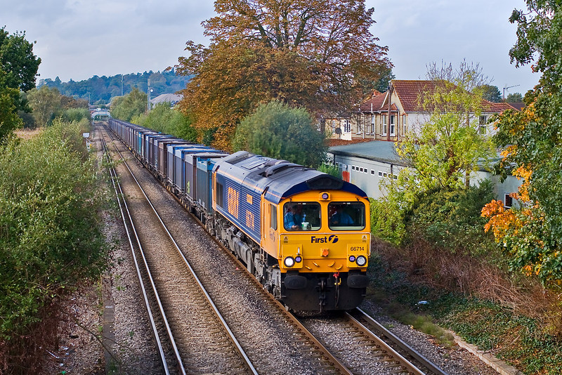 16th Oct 07:  A rare visitor on the Mountfield allowed me to get my first picture of 66714 'Cromer Lifeboat'. Captured here as it crosses Addlestone Moor