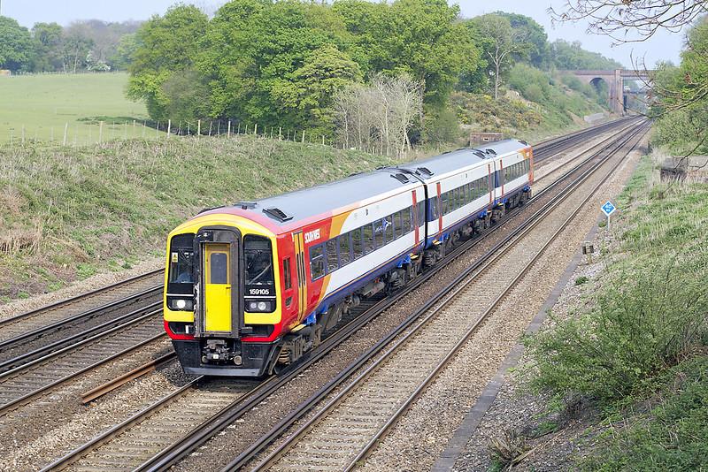 27th Apr 07:  Newley refurbished 159105 heads for Salisbury