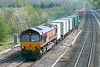 18th Apr 07: 66118 with a well loaded Intermodal service to Foundry Lane (Ditton)