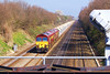 5th Apr 07: 59204 & 59205 are heading 7C77 from Acton to Merehead.  Pictured from Milley Bridge near Twyford