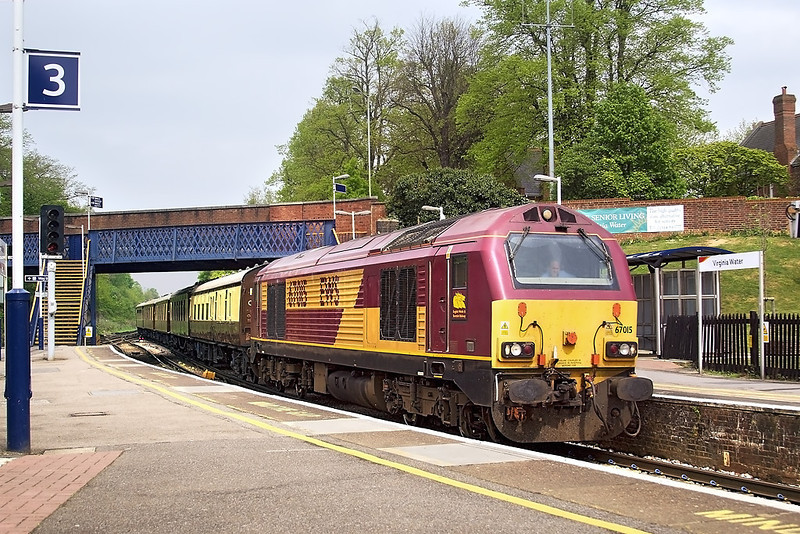 24th Apr 07:  67015 leads the VSOE from Victoria to Southampton docks. Captured here entering Virginia Water station.  67022 was on the tail ready for the return working