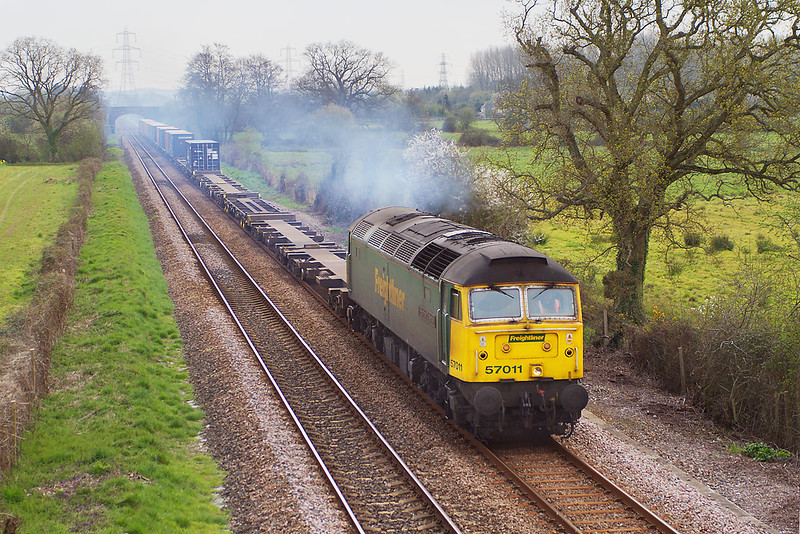 10th Apr 07:  57011 clagging well Northbound at Lee