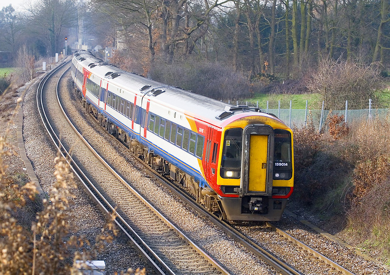 17th Feb 07:   159014 & 159019 bring a West on England service though, diverted due to engineering work on the main line