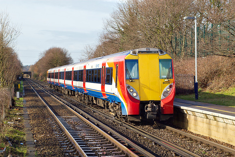 28th Feb 07:  458009 arrives at Addlestone, unusually working a Waterloo to Weybridge stopping service