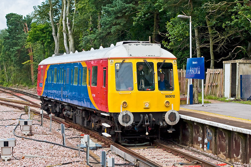 "16th Jul:   SWT Bubble car 960012 enters Ascot Platform 1 from Farnham.  The Network Rail ""Foliage Inspection Tour"" reversed and worked to Salisbury via Guildford and Basingstoke"