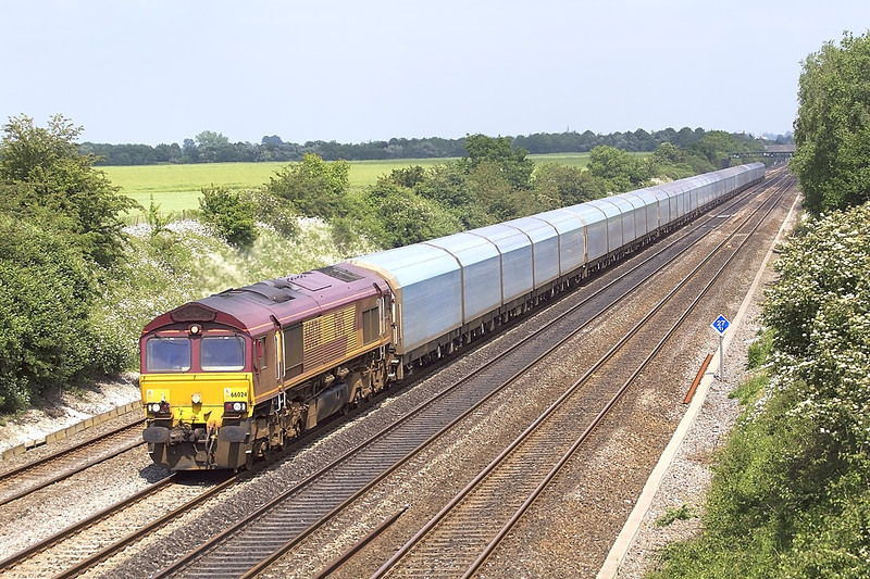 6th Jun 07: My first picture of the returning empty Purfleet to Cowley car carrier passing Shottesbrooke Farm