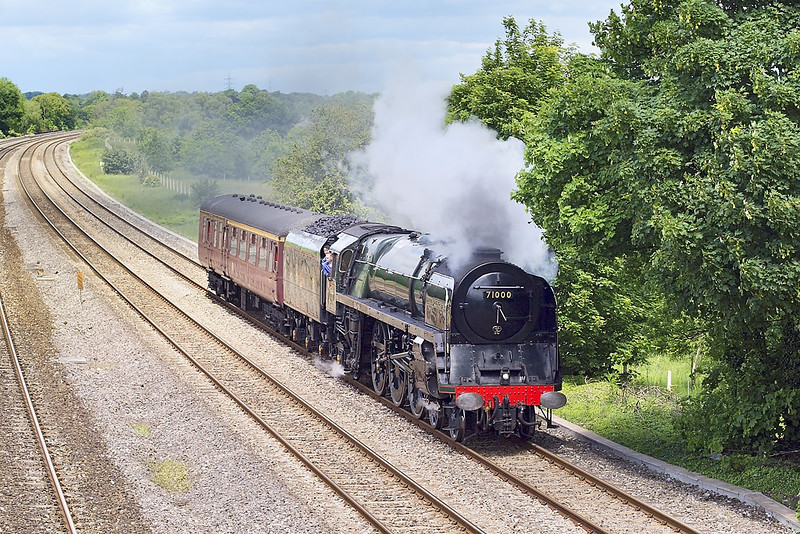 29th May 07: 71000 Duke of Gloucester working to Southall in preparation for powering 'The Cathedrals Express' to Cranmore on the following day