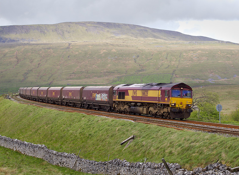 7th May 07:  66128 has just crossed Ribblehead viaduct as it heads south