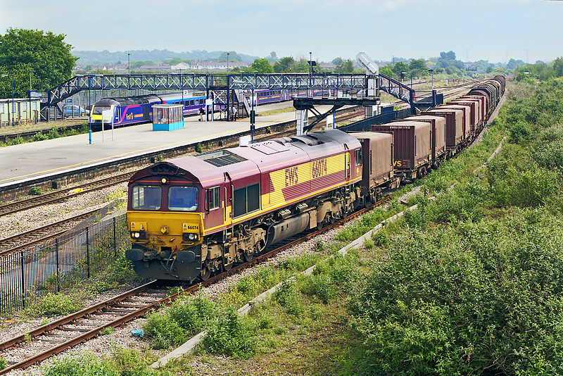 24th May 07: 66074 brings 6V05 the Round Oak to Margam empty steel carriers through the wasteland that was Severn Tunnel Junction Station