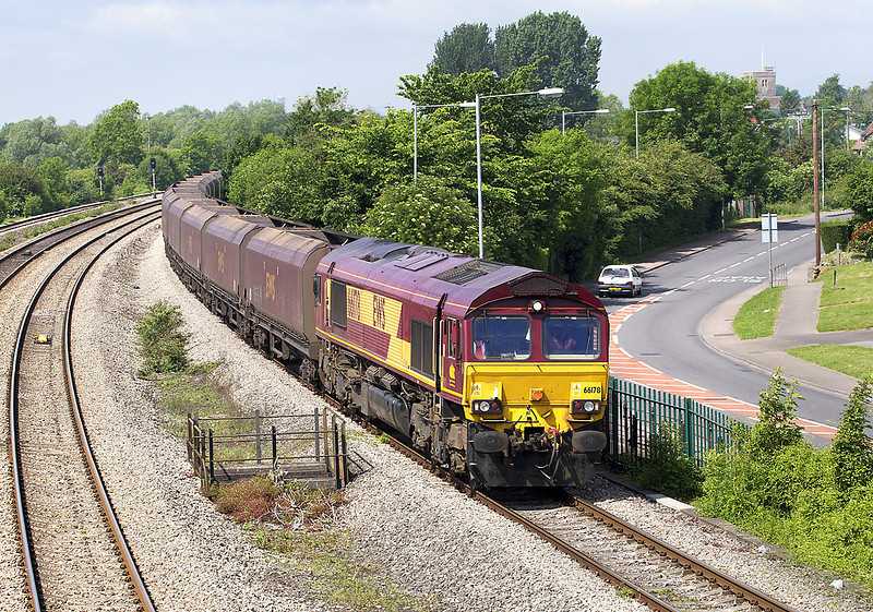 24th May 07: Full sun at last as 66178 takes coal empties back to Avonmouth from Aberthaw Power Station
