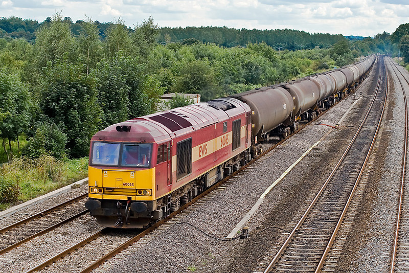 28th Aug 07:  60065 is in charge of the empty oil tanks returning to Lindsey from Theale