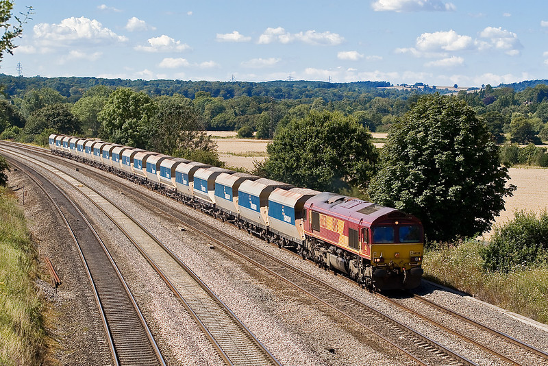 8th Aug 07: A unusual working for 66238 is the Tytherington to Allington stone hoppers