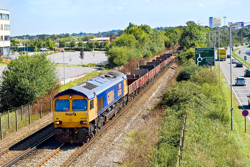 25th Aug 07:  66703 brings departmental stock from Virginia Water to Eastleigh.
