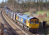 9th Mar 07:  66712, 4Y19  Mountfield to Southampton empty Gypsum Containers has just crossed the M25 at Lyne