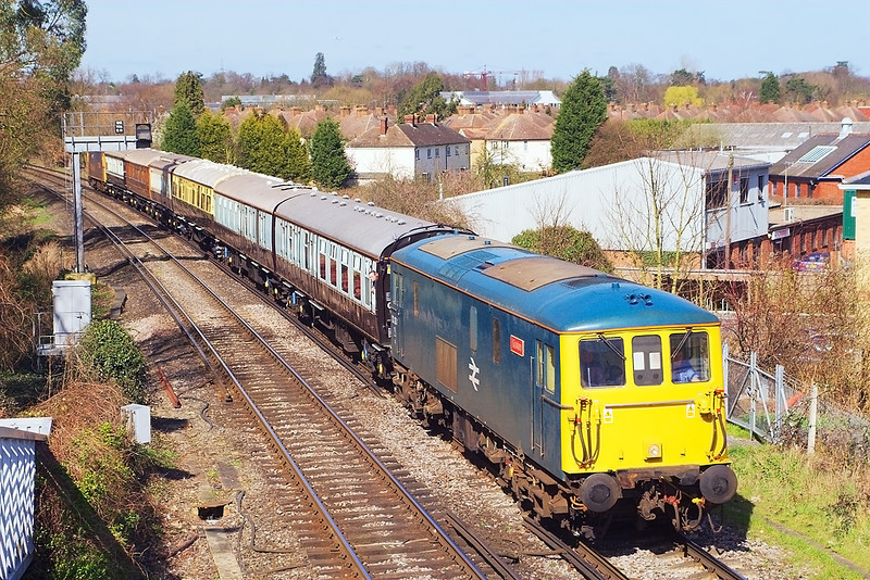 """16th Mar 07: 73208 heads a private """"Wedding Bells"""" charter from Waterloo to New Milton. Captured here att Cox's Lock on the outskirts of Addlestone"""