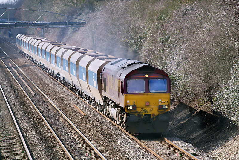 1st Mar 07:  66082 brings the 'As required' Whatley to St Pancras loaded stone quietly through