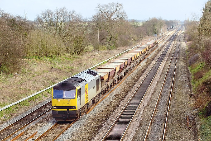10th Mar 07:  60060 heads west through Ruscombe with the Hayes to East Usk empty gunnels
