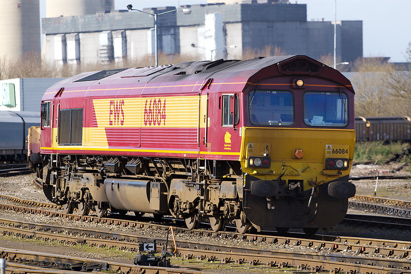 18th Mar 07:  66084 rests after bringing an Infrastructure train from the North