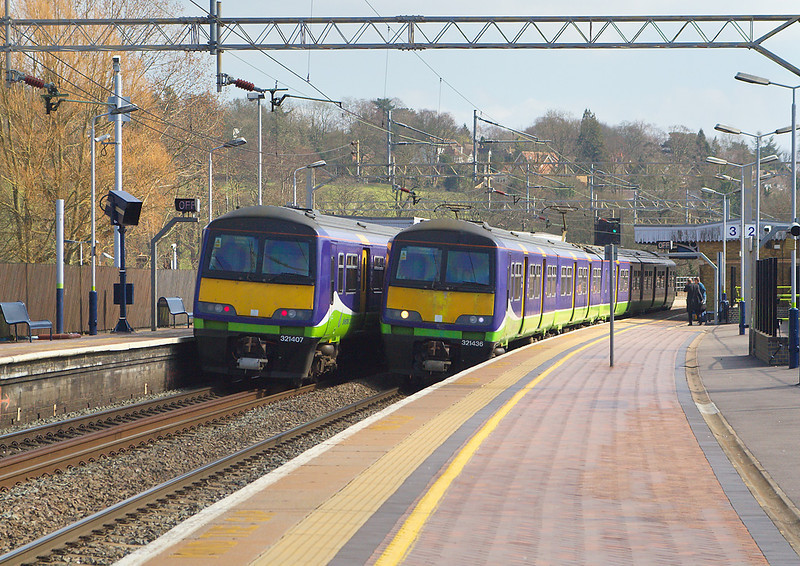 15th Mar 07;  Two Silverlink 321s pause at Berkhamsted