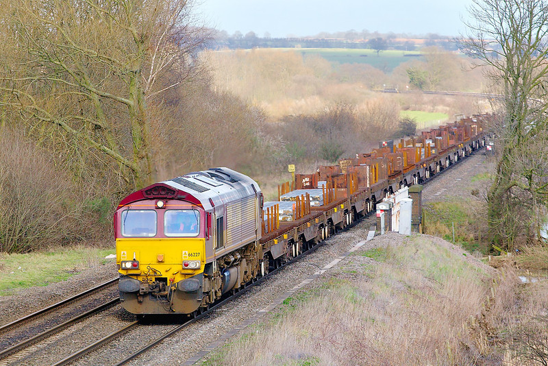 6th Mar 07:  66227 rumbles towards Lea Marston with steel slabs for Margam