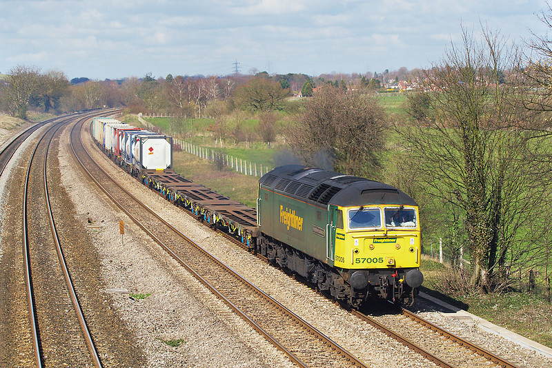 21st Mar 07:  57005 powers the Wentloog to Southampton through Lower Basildon in beautiful spring sunshine