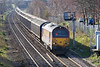 6th Mar 07:67014 crawls passed the signal ready to turn onto the branch with 6G36 Bescot to Birch Coppice Enterprise